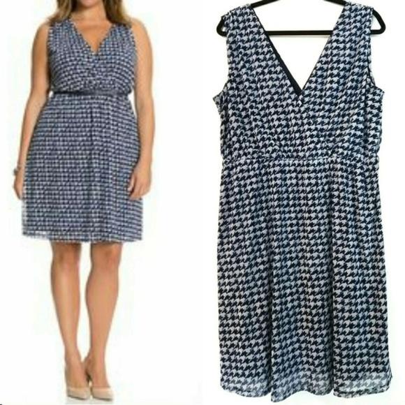 778c626b6d0d8 Lane Bryant Dresses   1416 Blue Houndstooth Surplice Dress   Poshmark